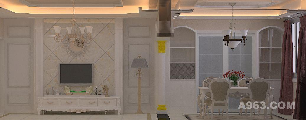 客厅与餐厅设计,客厅左边为隐形门,瓷砖上墙效果蛮好,两边的成品欧式